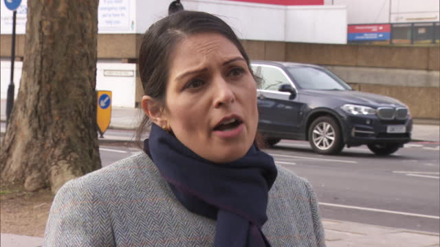 "interview priti patel, home secretary, accuses the labour party of ""playing politics"" regarding the debate over keeping the increase in universal... - ""bbc news"" stock videos & royalty-free footage"