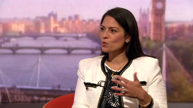 interview priti patel home secretary on andrew marr show about david cameron's criticisms of her in his memoir we've all moved on there is no point... - home secretary stock videos & royalty-free footage