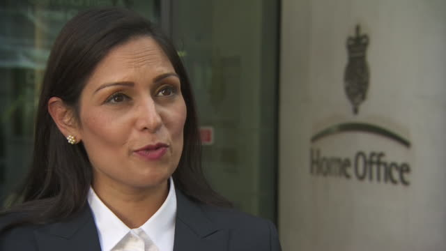 interview priti patel on being appointed home secretary by new prime minister boris johnson with this great office of state comes significant... - priti patel stock-videos und b-roll-filmmaterial