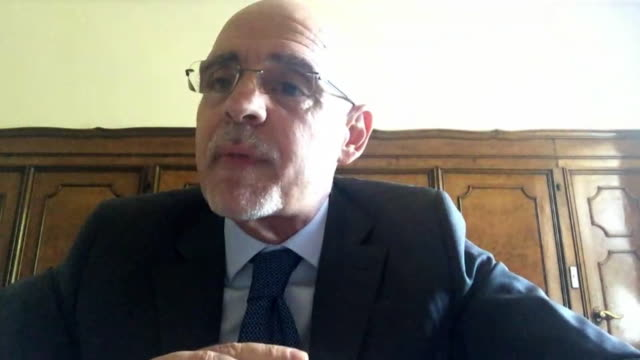 """interview raffaele trombetta italian ambassador to uk about italy opening up to european travellers including the uk after coronavirus outbreak - """"bbc news"""" stock videos & royalty-free footage"""