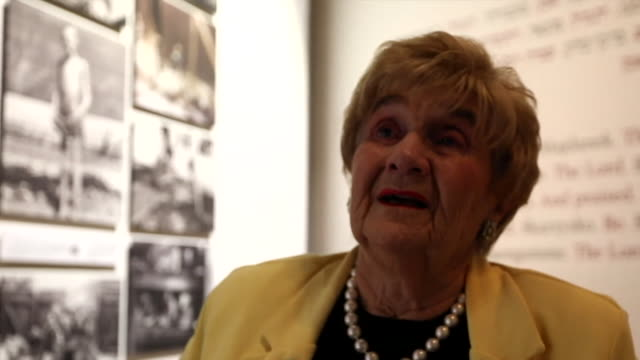 """interview rena quint holocaust survivor at yad vashem holocaust remembrance centre in jerusalem says how did i possibly get out how did i survive... - """"bbc news"""" stock-videos und b-roll-filmmaterial"""