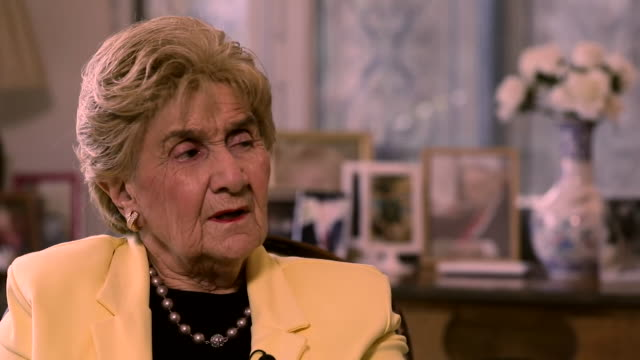 """interview rena quint, holocaust survivor from the bergen-belsen concentration camp """"we have to remember the hatred that people can learn, germany was... - """"bbc news"""" stock-videos und b-roll-filmmaterial"""