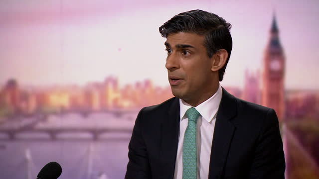 interview rishi sunak, chancellor of the exchequer, on andrew marr, about being honest in the budget about what challenges the economy faces - transparent stock videos & royalty-free footage