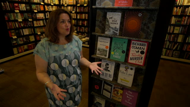 """interview ruth jones, author, about lots of new books being released """"i think it's glorious as it's the best place to escape"""" - literature stock videos & royalty-free footage"""