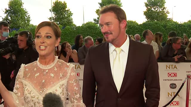 """interview ruthie henshall and russell watson, at nta awards 2021, about filming i'm a celebrity get me out of here, during the coronavirus pandemic - """"bbc news"""" stock videos & royalty-free footage"""