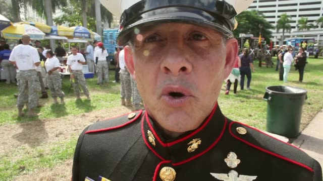 interview sgt lopez of the us marine corps discusses the turnout at the parade to honor veterans of the vietnam war the bay of pigs and all wars the... - miami dade county stock videos and b-roll footage