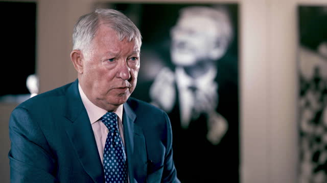 interview sir alex ferguson, former manchester united manager, about reflecting on his life as a football manager, when his son jason made a film,... - reflection stock videos & royalty-free footage