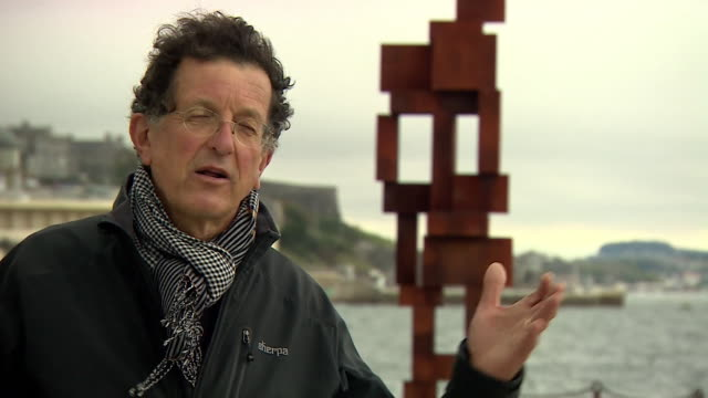 "interview sir antony gormley, artist, about his new sculpture in plymouth ""i love making work that everyone can see and is close to the elemental... - new stock videos & royalty-free footage"