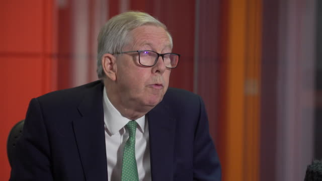 """interview sir david clementi, bbc chairman, about free tv licences for over-75's being scrapped """"the bbc is under severe financial constraints and we... - bbc stock videos & royalty-free footage"""