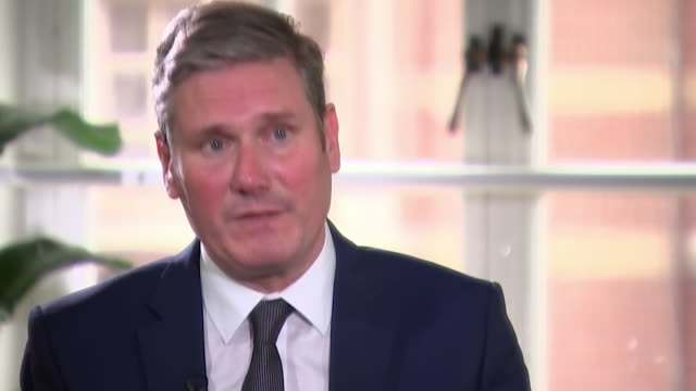 """interview sir keir starmer labour leader about needing to win election to change lives and stop gifting the tories power - """"bbc news"""" stock videos & royalty-free footage"""
