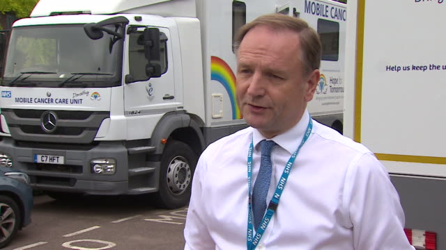 interview sir simon stevens ceo nhs england about different ways of treating patients such as a mobile cancer care unit during coronavirus pandemic - cancer illness stock videos & royalty-free footage