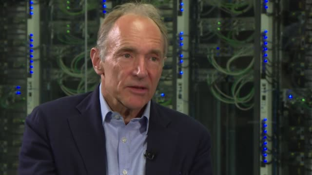 vídeos de stock e filmes b-roll de interview sir tim berners-lee, inventor of world wide web, cern, talks about cambridge analytica and abuse of data and how people and governments... - www