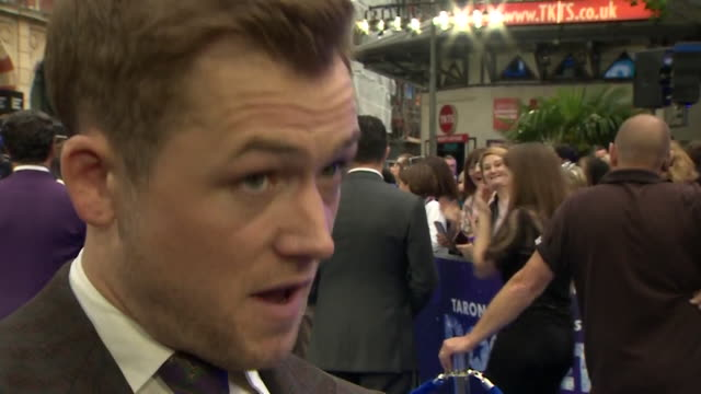 Interview Taron Egerton about playing Elton John at the premiere of Rocketman at Leicester Square