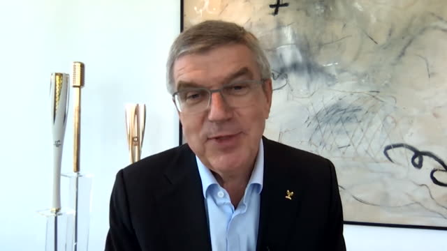 """interview thomas bach, ioc president, about tokyo olympics postponed due to coronavirus pandemic """"it's a mammoth task and there is no blueprint for... - """"bbc news"""" stock-videos und b-roll-filmmaterial"""