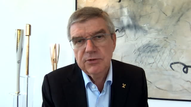 """interview thomas bach ioc president about whether the postponed tokyo olympics could happen behind closed doors it is not what we want as the... - """"bbc news"""" stock videos & royalty-free footage"""