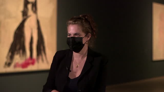interview tracey emin, artist, talks about how her art comes from an energy within, intercut with art work on display at royal academy of arts. london - museum stock videos & royalty-free footage