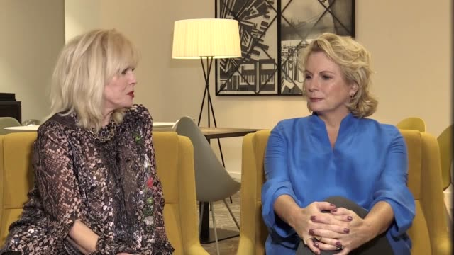 interview with absolutely fabulous stars joanna lumley and jennifer saunders ahead of their appearance at the bbc worldwide showcase event in... - jennifer saunders stock videos & royalty-free footage
