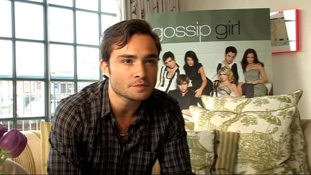 Interview with actor Ed Westwick ENGLAND London INT Ed Westwick interview SOT On returning to the UK On how his school days compared with Chuck's on...