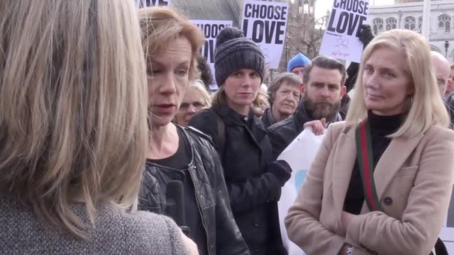 """interview with actor juliet stevenson outside parliament, in which she urges mps to vote """"with their hearts"""" and commit to accommodating traumatised... - juliet stevenson stock videos & royalty-free footage"""