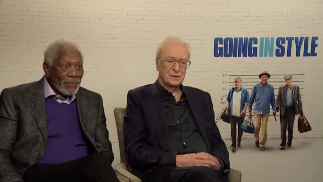 vídeos de stock e filmes b-roll de interview with actors morgan freeman and michael caine ahead of the release of new film going in style - michael caine ator