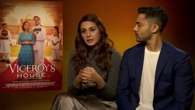 vídeos de stock e filmes b-roll de interview with actress huma qureshi and actor manish dayal ahead of the release of britishindian historical drama film viceroy's house - atriz