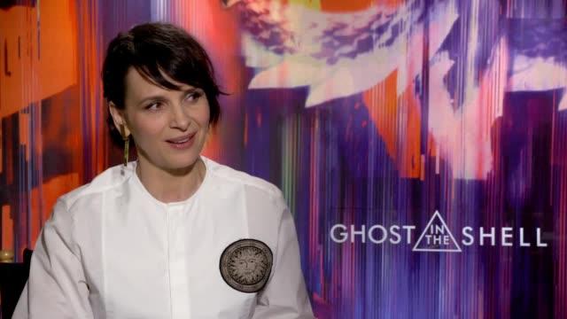 interview with actress juliette binoche ahead of the release of new film ghost in the shell. - juliette binoche stock videos & royalty-free footage