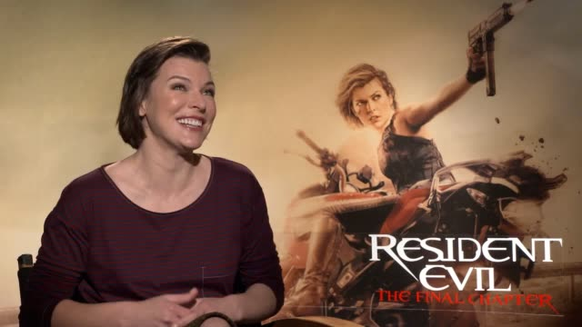 vídeos de stock, filmes e b-roll de interview with actress milla jovovich ahead of the release of new thriller resident evil the final chapter - milla jovovich