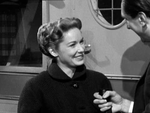 stockvideo's en b-roll-footage met interview with actress vera miles; england: surrey: walton-on-thames: int vera miles interview sof neg 16mm itn - itv evening bulletin