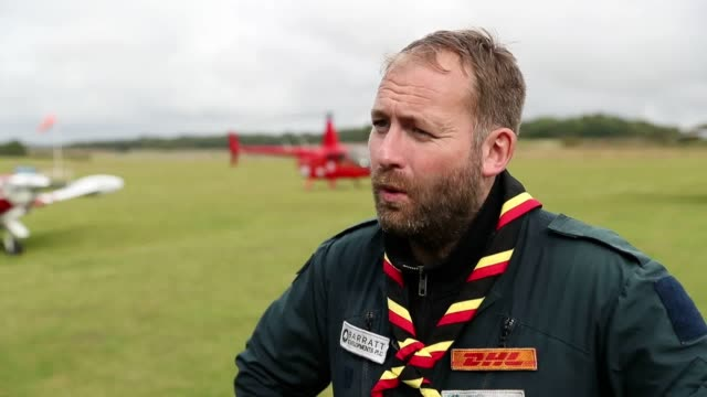 interview with adventurer james ketchell after he lands at popham airfield hampshire after completing a mindblowing challenge to become the first... - air vehicle stock videos & royalty-free footage
