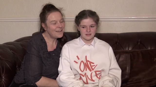 interview with amelia thompson who has received an invite to the royal wedding and mum lisa newton a 12yearold girl left traumatised when she was... - meghan harry stock videos and b-roll footage