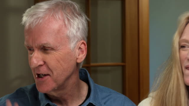 interview with american movie director james cameron regarding his professional image - biographie stock-videos und b-roll-filmmaterial