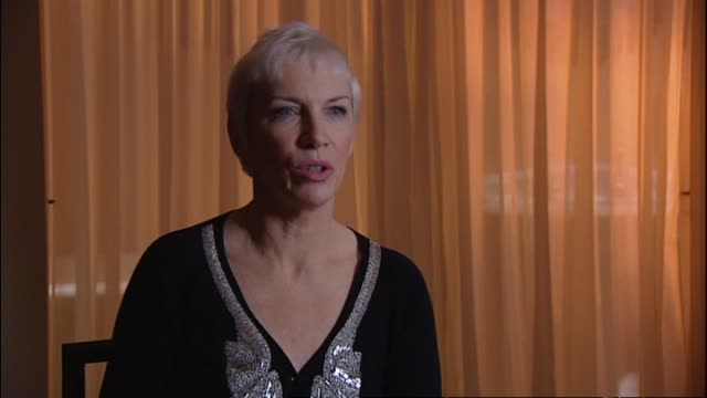 2009 interview with annie lennox regarding feeling flattered if one of her songs is covered by another artist and being unsure of her next musical... - マリリン マンソン点の映像素材/bロール