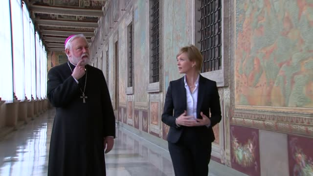 interview with archbishop paul gallagher italy rome vatican city ext fountain with st peter's square in background statues on st peter's basilica gvs... - swiss guard stock videos and b-roll footage