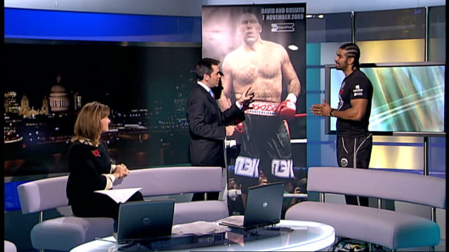 interview with bermondsey boxer david haye england london gir int david haye live studio interview sot on his forthcoming world title fight against... - world title stock videos and b-roll footage