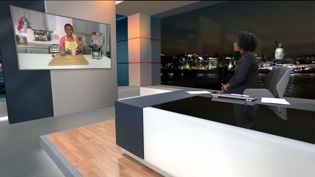 interview with britain's youngest tv chef omari mcqueen; england: london: gir: int omari mcqueen live 2-way interview sot - itv london tonight stock-videos und b-roll-filmmaterial