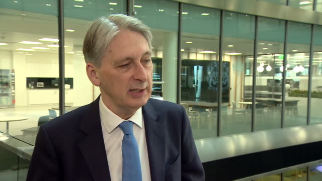 interview with british chancellor of the exchequer philip hammond on how uk listed companies will be able to sell shares in china and the... - börse von london stock-videos und b-roll-filmmaterial