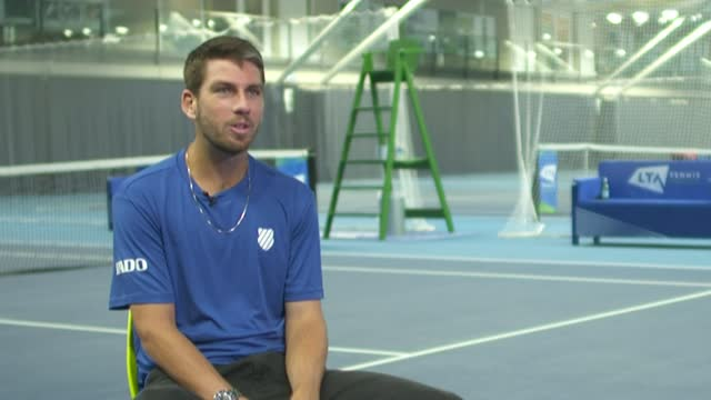 interview with british men's tennis number one cameron norrie; england: london: national tennis centre: int cameron norrie interview sot - itv lunchtime news stock videos & royalty-free footage