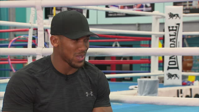 Interview with British professional boxer Anthony Joshua on a typical day at training camp at English Institute of Sport Sheffield on October 6th 2017