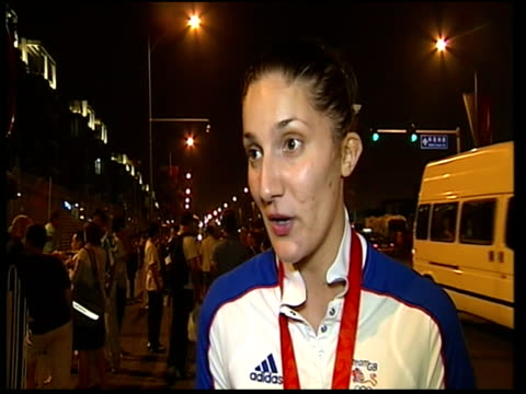 interview with bronze medallist sarah stevenson; - on whether british athletes are worried about the fairness of judging at the olympics / it's a... - スポーツの判定員点の映像素材/bロール