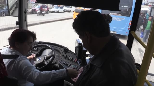 interview with bus driver feyruz gulum in hatay southern province of turkey on march 08 2019 on the occasion of international women's day - bus driver stock videos & royalty-free footage