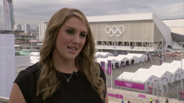 interview with cassie patten on swimmer hannah miley sky news olympics day 1 coverage at olympic stadium on july 28 2012 in london england - 1日目点の映像素材/bロール