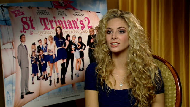 interview with cast of st trinian's 2: the legend of fritton's gold; egerton interview sot on finding cameo in next film for reporter in drag / would... - cameo brooch stock videos & royalty-free footage