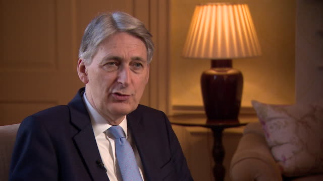 interview with chancellor philip hammond about the downturn in the uk economy there is no doubt that the uncertainty around brexit is taking a toll... - フィリップ ハモンド点の映像素材/bロール