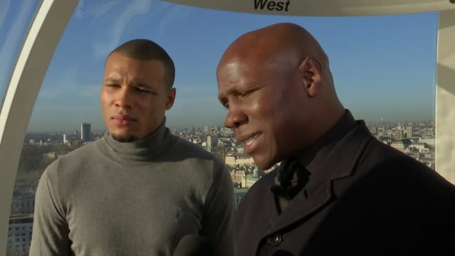 interview with chris eubank and son chris eubank junior; eubank and son standing chatting with reporter chris eubank interview sot - we'll show itv... - chris eubank sr. stock videos & royalty-free footage