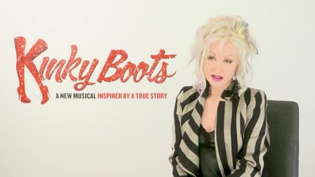 stockvideo's en b-roll-footage met interview with cyndi lauper ahead of the uk tour of kinky boots. she talks about the tour, why she can't watch the handmaids tale and eating haggis... - cyndi lauper