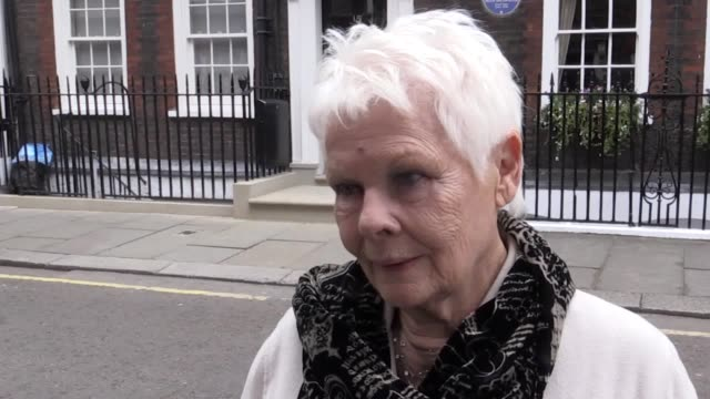 interview with dame judi dench after the unveiling of the blue plaque in honour of sir john gielgud at his former home in london she talks about... - john gielgud stock videos & royalty-free footage