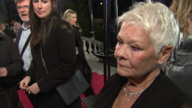 interview with dame judi dench on the red carpet at the world premiere of murder on the orient express, speaking about the hollywood sexual abuse... - ジュディ・デンチ点の映像素材/bロール