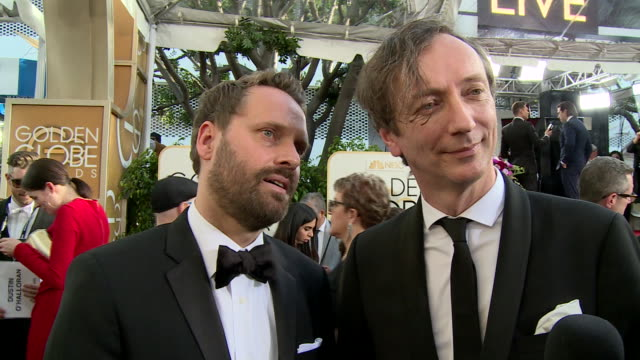interview with dustin o'halloran and volker bertelmann on the red carpet during the 74th annual golden globe awards - 74th annual academy awards stock videos & royalty-free footage