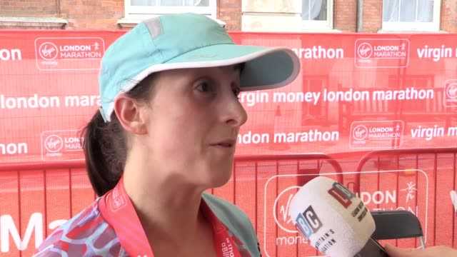 interview with eastenders actress natalie cassidy after she finishes her first london marathon. the tv star is among several actors from the show... - eastenders stock videos & royalty-free footage