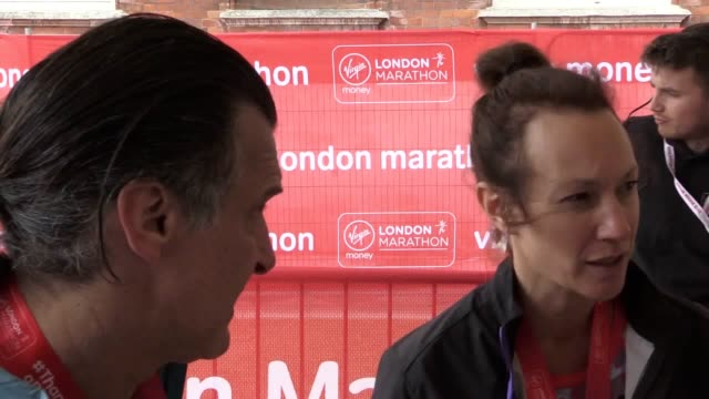 vídeos y material grabado en eventos de stock de interview with eastenders stars tanya franks and jake wood and barbara windsor's husband scott mitchell as they complete the london marathon for... - telenovela
